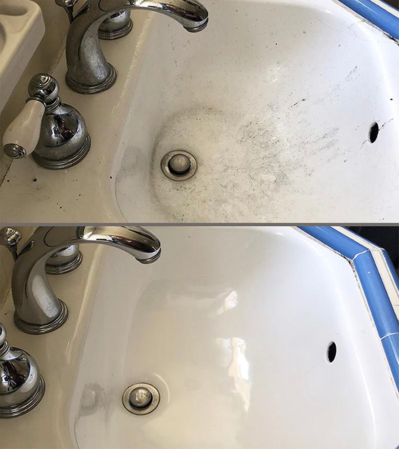 Baking soda sink scrub