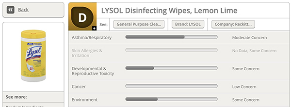 EWG Lysol Disinfecting Wipes