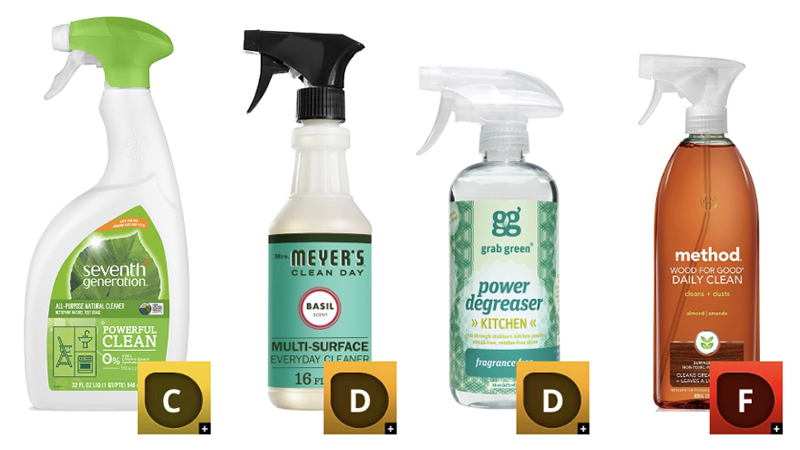 Green cleaning products with low ratings